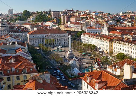 Rossio Square (pedro Iv Square) As Seen From The Observation Platform Of Santa Justa List