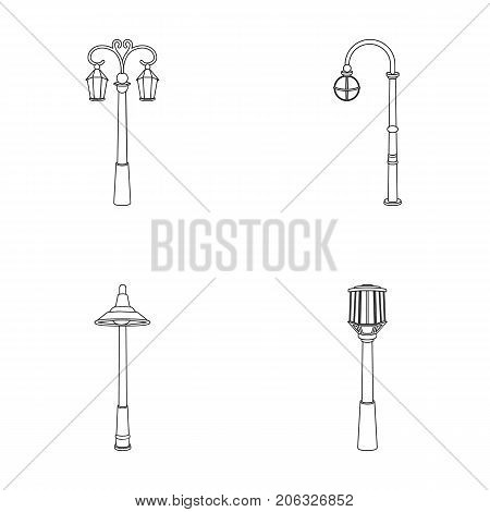 Lamppost in retro style , modern lantern, torch and other types of streetlights. Lamppost set collection icons in outline style vector symbol stock illustration .