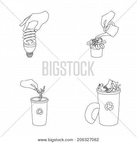Energy-saving light bulb, watering a houseplant and other  icon in outline style. garbage can with waste and garbage icons in set collection.