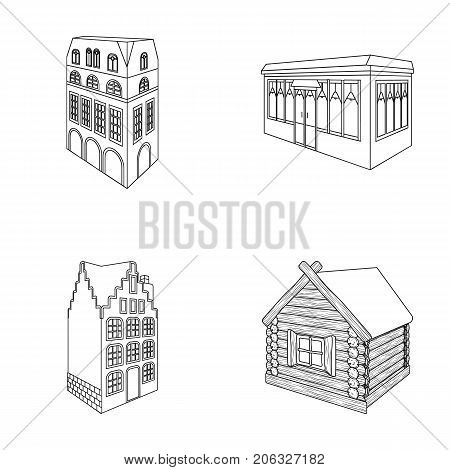 Residential house in English style, a cottage with stained-glass windows, a cafe building, a wooden hut. Architectural building set collection icons in outline style vector symbol stock illustration .