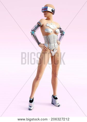 3D rendering of a sexy female android robot posing against a pink background.