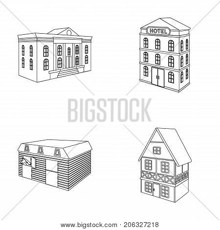 The museum building, a three-story hotel, a stable at the racecourse, a residential cottage. Architectural building set collection icons in outline style vector symbol stock illustration .