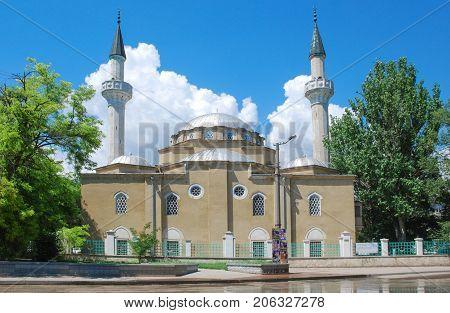Yevpatoria( Evpatoria)Crimea- April 4 2009: Juma-Jami (Crimean Tatar Cuma Cami) -the main mosque of the city Yevpatoria in Crimea.The mosque was founded in Gezlev in 1552 when Khan Devlet I Giray