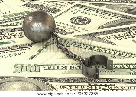 3d illustration: rusty iron ball and chain connected to open cuff lying on dollar banknotes background. The business concept of debt with a high interest rate. The stress of mortgage. Bribery crime.