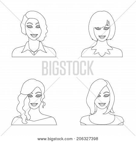 The appearance of a woman with a hairdo, the face of a girl. Face and appearance set collection icons in outline style vector symbol stock illustration .