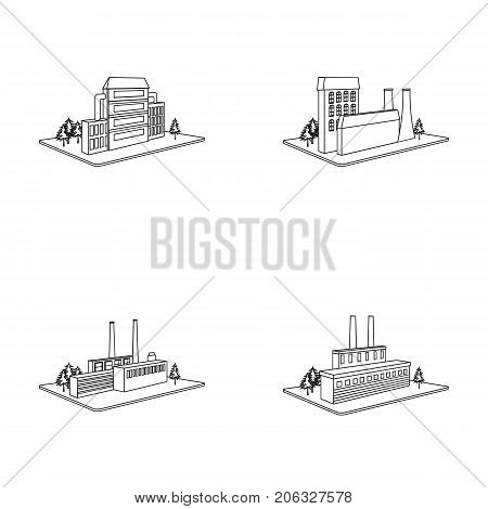 Processing factory, metallurgical plant. Factory and industry set collection icons in outline style isometric vector symbol stock illustration .