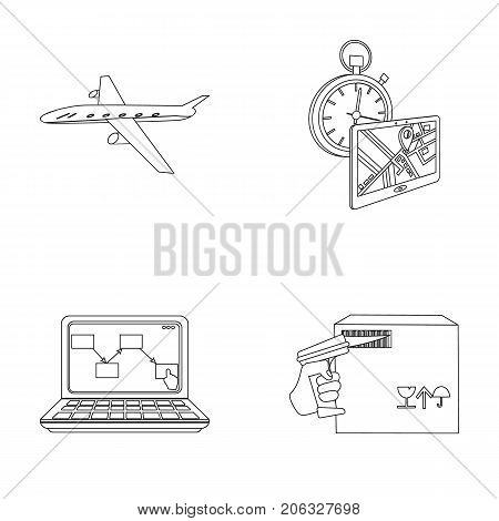 Transport aircraft, delivery on time, computer accounting, control and accounting of goods. Logistics and delivery set collection icons in outline style isometric vector symbol stock illustration .