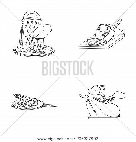 treat, appliance, tool and other  icon in outline style.cook, housewife, hands icons in set collection.
