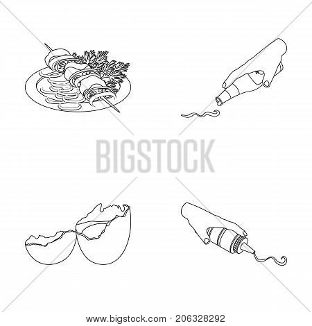 Shish kebab with vegetables, ketchup and mustard, seasoning for food, broken egg. Food and Cooking set collection icons in outline style vector symbol stock illustration .