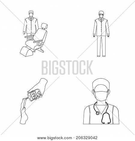 Doctor in a face mask, dentist, medical staff, a blood test for sugar. Medicineset collection icons in outline style vector symbol stock illustration .