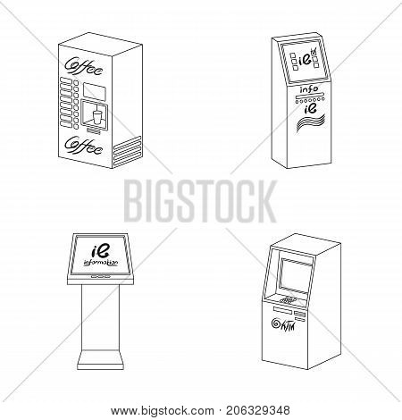 Coffee machine, ATM, information terminal. Terminals set collection icons in outline style isometric vector symbol stock illustration .
