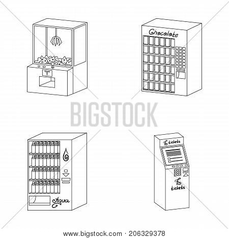 A game machine, a ticket sales terminal, an automaton for selling aqua and chocolate. Terminals set collection icons in outline style isometric vector symbol stock illustration .