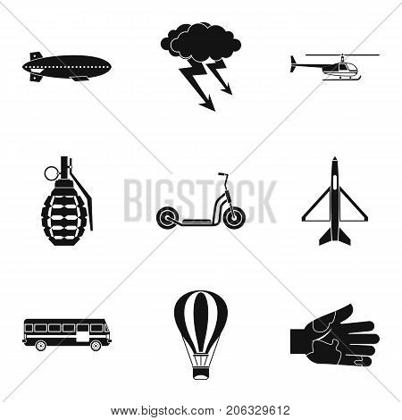 Militant icons set. Simple set of 9 militant vector icons for web isolated on white background