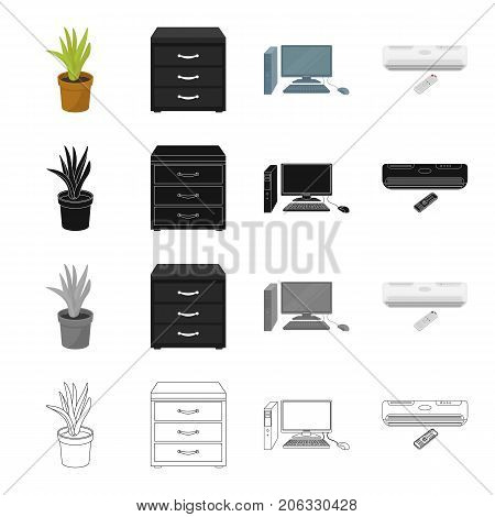 Equipment, office, attributes and other icon in cartoon style.Air , conditioner, remote, icons in set collection.