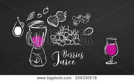 Berries Juice Drawing On Chalkboard