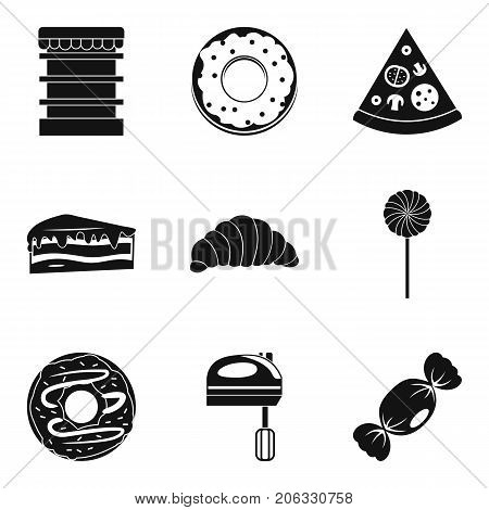 Children meal icons set. Simple set of 9 children meal vector icons for web isolated on white background
