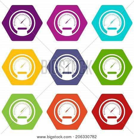 Speedometer icon set many color hexahedron isolated on white vector illustration