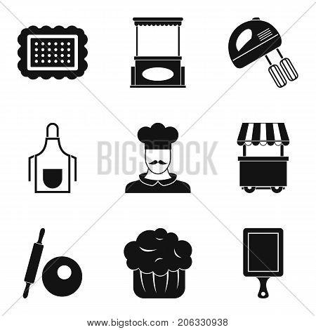 Sponge cake icons set. Simple set of 9 sponge cake vector icons for web isolated on white background