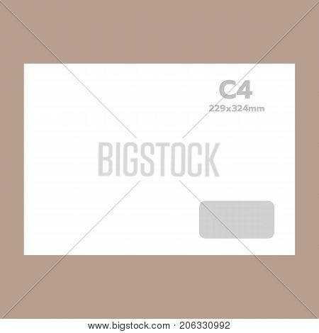 C4 envelope mockup. Realistic illustration of c4 envelope vector mockup for web design