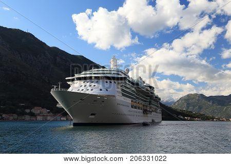 KOTOR, MONTENEGRO - SEPTEMBER 13, 2013: This is liner 'Serenade of the Seas' in the city roadstead in Kotor Bay.