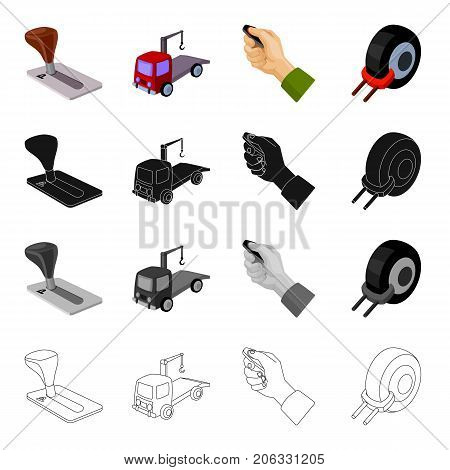 Truck, penalty, area and other  icon in cartoon style.Lock, plug, tow, icons in set collection.