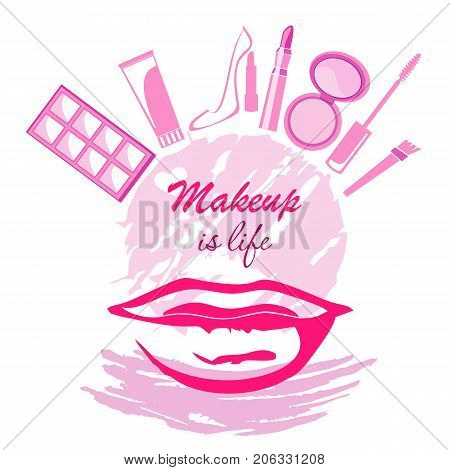 Trend beauty logo emblem makeup if life concept with lips cream brush mascara eyeshadow lipstick shoe on circle and paint color dab. Vector template illustration Cosmetics and fashion background
