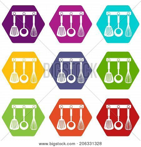Spatula, ladle and whisk, kitchen tools on a hanger icon set many color hexahedron isolated on white vector illustration