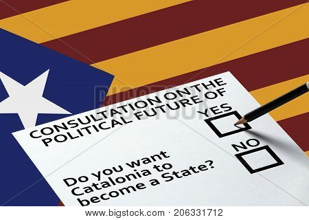Bulletin for voting on the National Catalonia flag background. Democracy Freedom Independence Concept