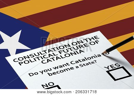 Bulletin for voting on the National Catalonia flag background. Freedom Independence Concept