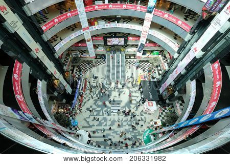 Dhaka, bangladesh, september 17- Bashundhara City Shopping Mall with 11 floor building complex and people at shopping center located in Panthapath in dhaka in bangladesh taken at 2th september 2017.