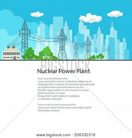 High Voltage Power Lines Supplies Electricity to the City and Text Electric Power Transmission Poster Brochure Flyer Design Vector Illustration