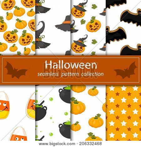 Set paintings on a hilarious Halloween . Eight seamless fabrics under the clipping Maski. The cartoon drawings .A fun filled holiday. Stock vector.