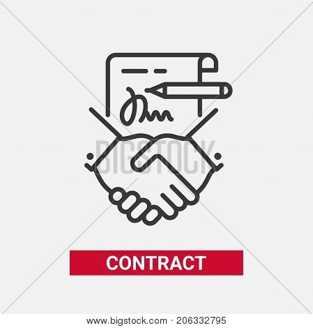 Contract - modern vector single line design single icon. A black and white image depicting a paper agreement, document, pencil, written signature, handshake. Business, partnership presentation.
