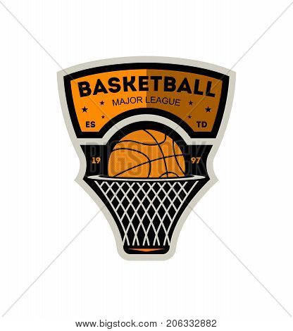 Basketball major sporty league vintage isolated label. Basketball team badge, sport competition symbol, athletic camp logo vector illustration.