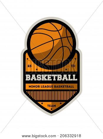 Basketball minor sporty league vintage isolated label. Basketball team badge, sport competition symbol, athletic camp logo vector illustration.