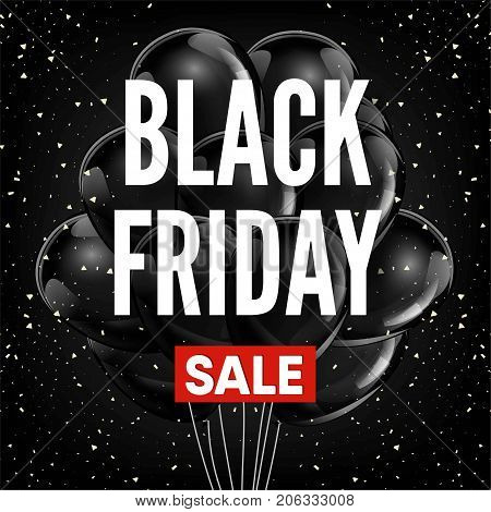 Black Friday sale discount promo offer fashion shop poster of black balloons and red sale ribbon for advertising flyer or store discount coupon. Vector design on premium background
