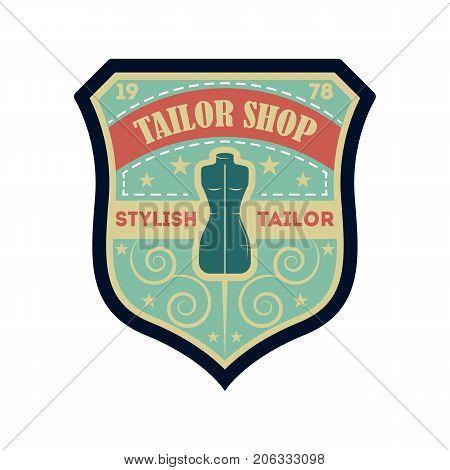 Tailor shop vintage isolated label. Custom clothing shop badge, fashion dress logo, tailoring symbol vector illustration