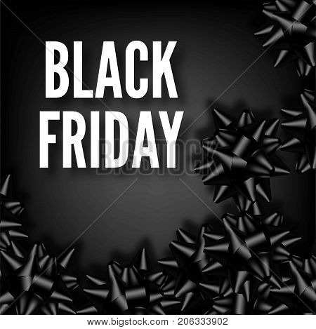 Sale discount promo offer black poster or web banner design template for Black Friday seasonal advertising flyer and price off coupon. Vector sale gift bow ribbons on premium background