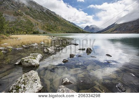 Medial Multinskiye Lake, Altai Mountains Landscape