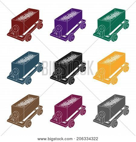 The red cart on wheels for lifts minerals from deep mines.Mine Industry single icon in black style vector symbol stock web illustration.