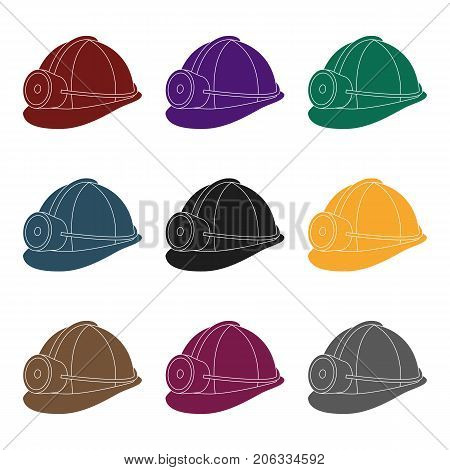 The helmet of a miner with a flashlight.Gear digger for protection from stones.Mine Industry single icon in black style vector symbol stock web illustration.