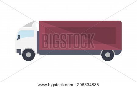 Modern lorry truck side view icon. Commercial freight truck, vehicle for cargo transportation, trucking and delivery service vector illustration