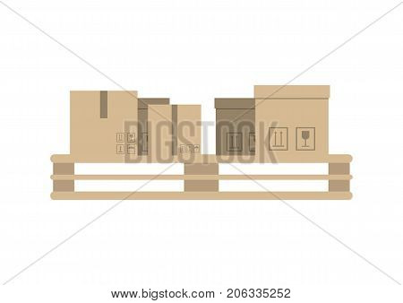 Cardboard boxes on pallet vector icon in flat design. Global or local shipping service, logistic company vector illustration isolated on white background.