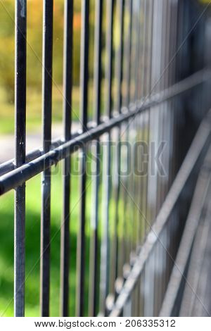 Close up of iron fence. Focus on foreground, vertical image.
