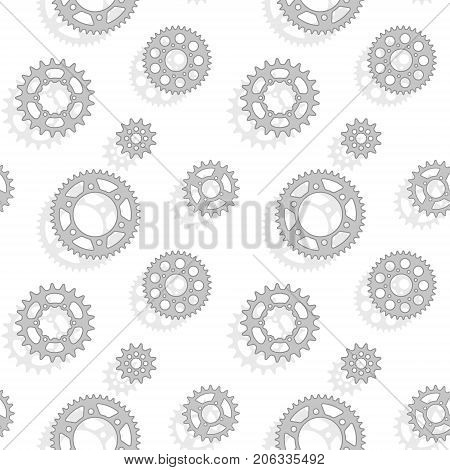 Gears and sprockets seamless vector pattern on the white background