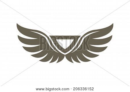 Abstract wings emblem isolated on white background vector illustration. Winged design elements for company logo or brand.