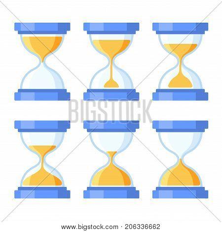 Sandglass Icons Set. Flat Style Design. Vector illustration