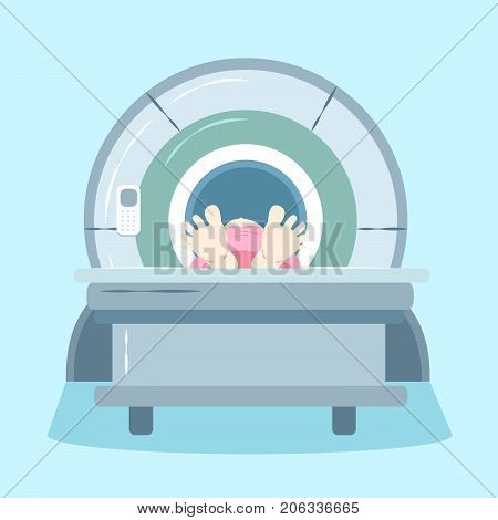 woman with mri on the blue background