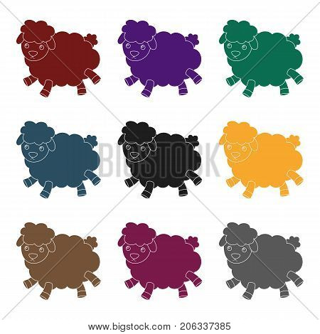 Toy sheep icon in black design isolated on white background. Sleep and rest symbol stock vector illustration.