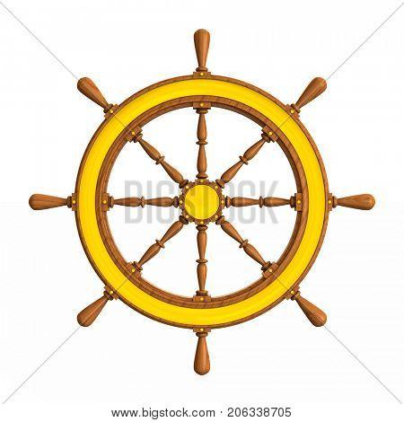ship wheel on white background. Isolated 3D illustration